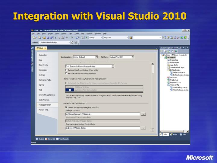 Integration with Visual Studio 2010