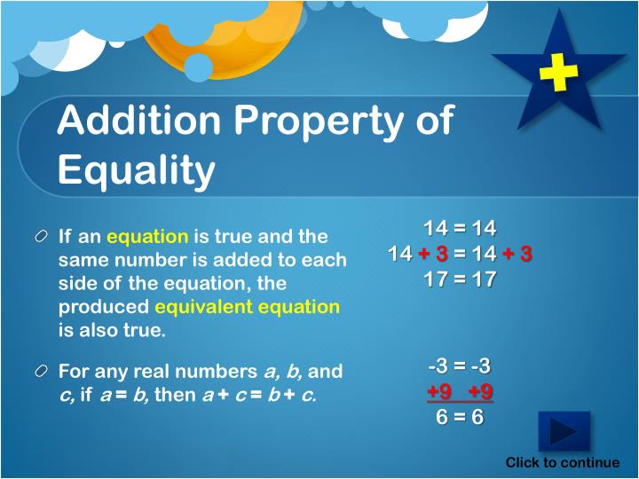 Addition Property of Equality