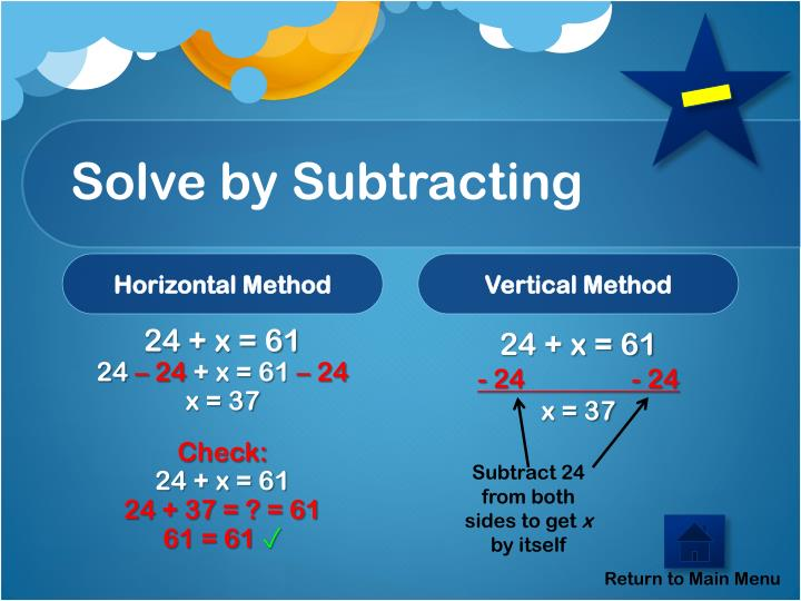 Solve by Subtracting