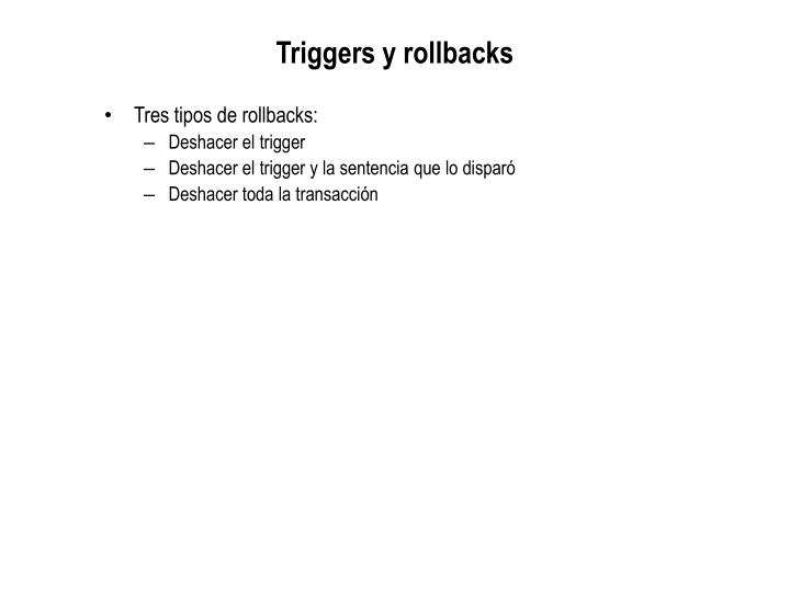 Triggers y rollbacks