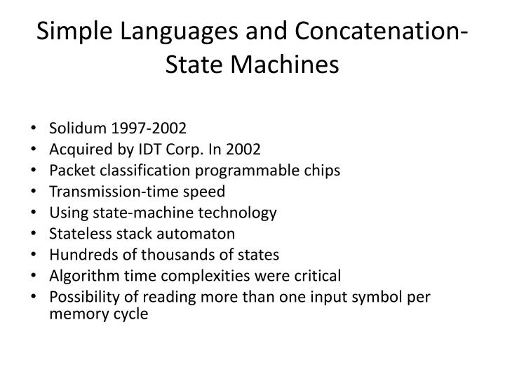 Simple languages and concatenation state machines