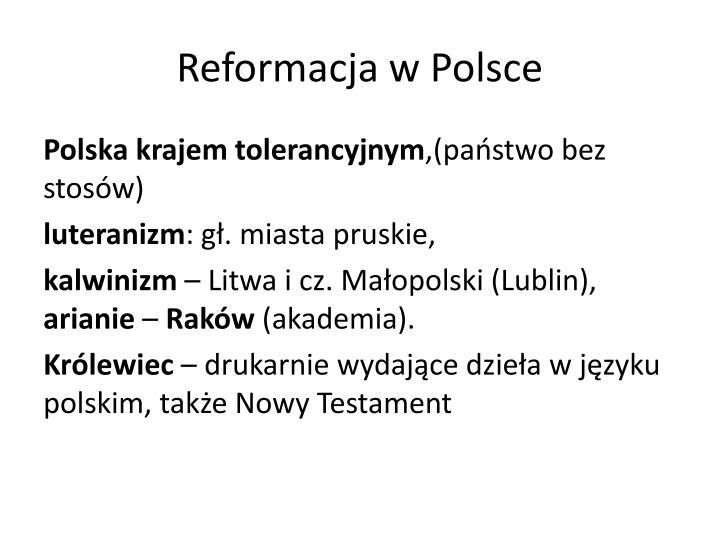 Reformacja w Polsce