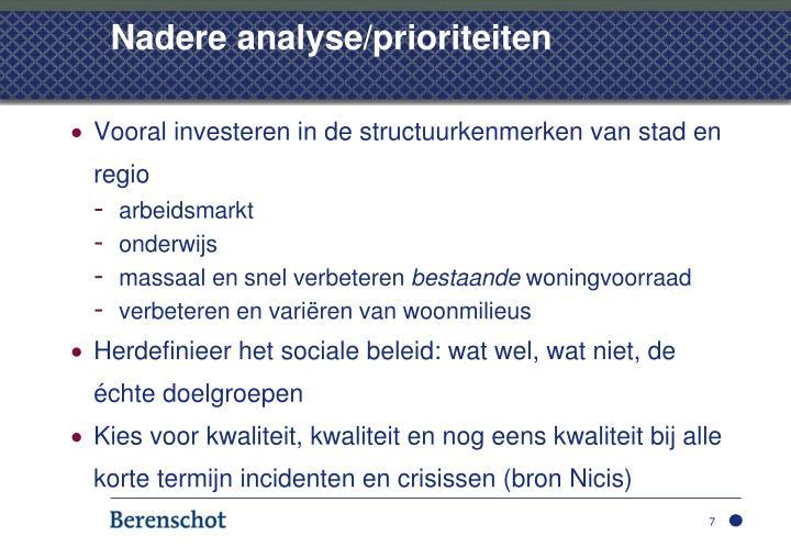 Nadere analyse/prioriteiten