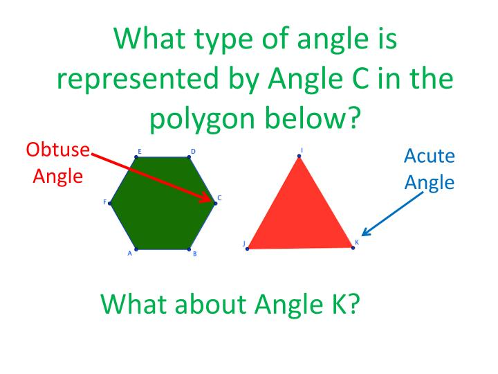 What type of angle is represented by Angle C in the polygon below?