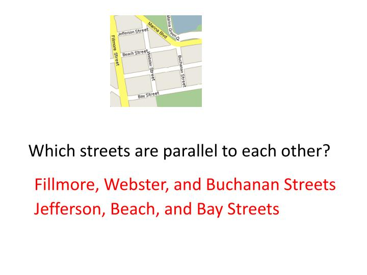 Which streets are parallel to each other?