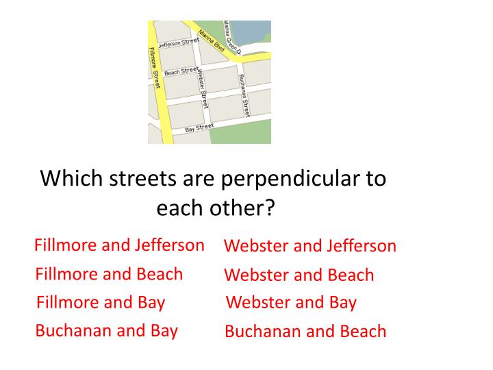 Which streets are perpendicular to
