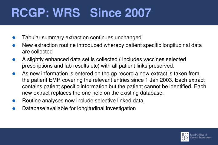 RCGP: WRS   Since 2007