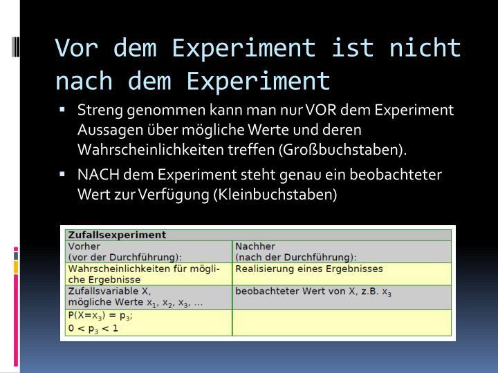 Vor dem Experiment ist nicht nach dem Experiment