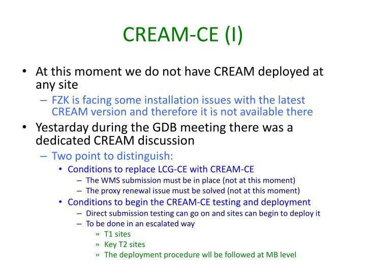 CREAM-CE (I)
