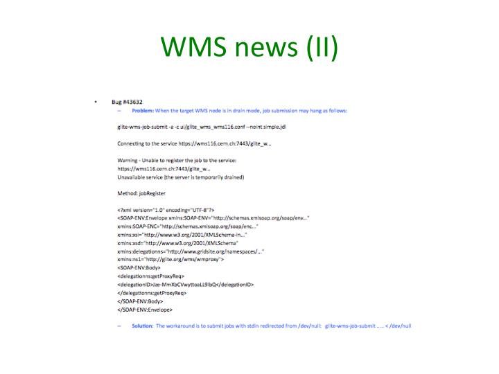 WMS news (II)