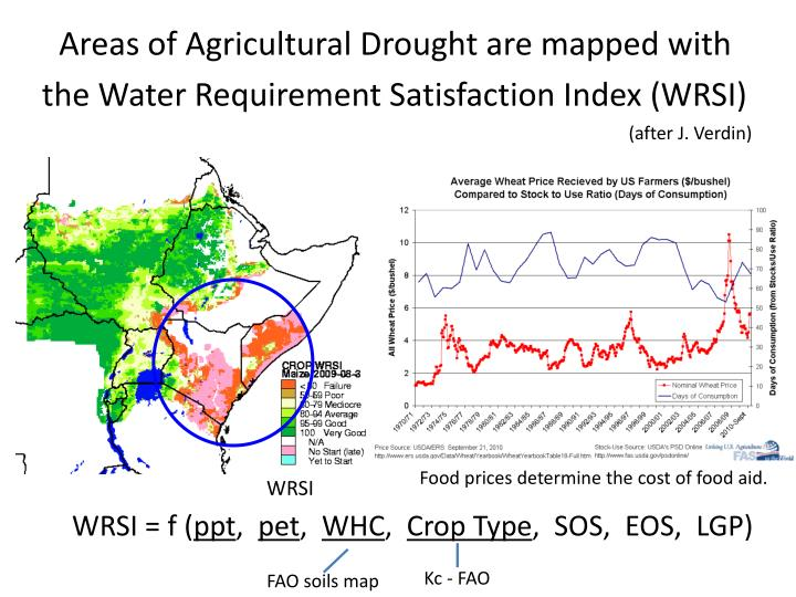 Areas of Agricultural Drought are mapped with the Water Requirement Satisfaction Index (WRSI)
