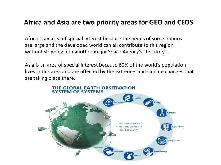 Africa and Asia are two priority areas for GEO and CEOS