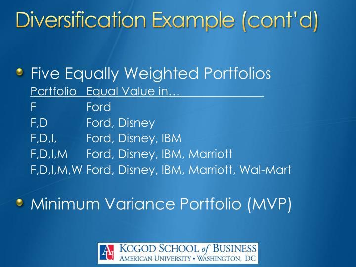 Diversification Example (cont'd)
