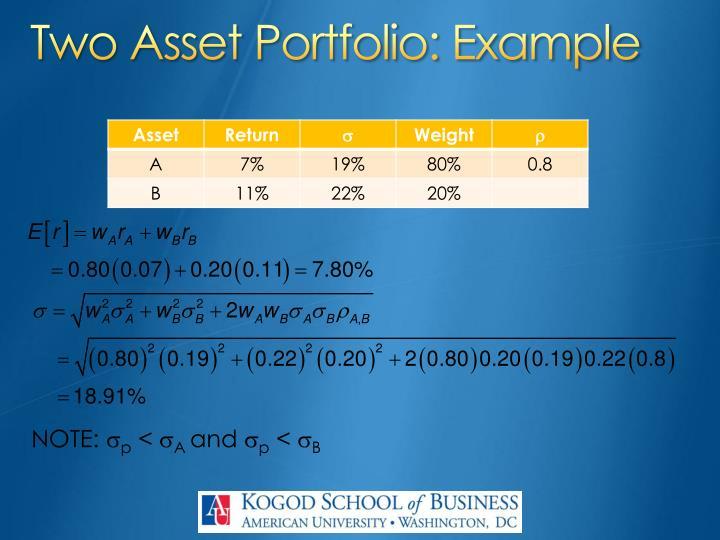 Two Asset Portfolio: Example