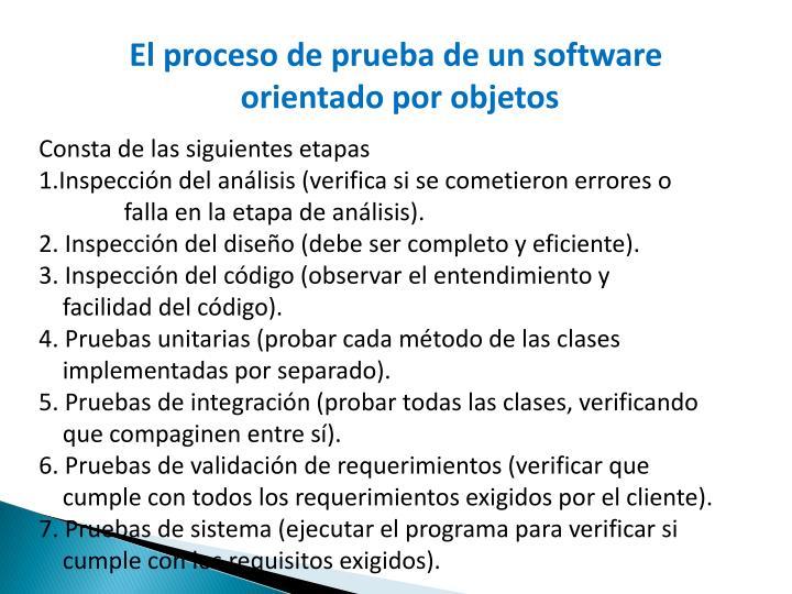 El proceso de prueba de un software