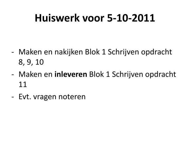 Huiswerk voor 5-10-2011