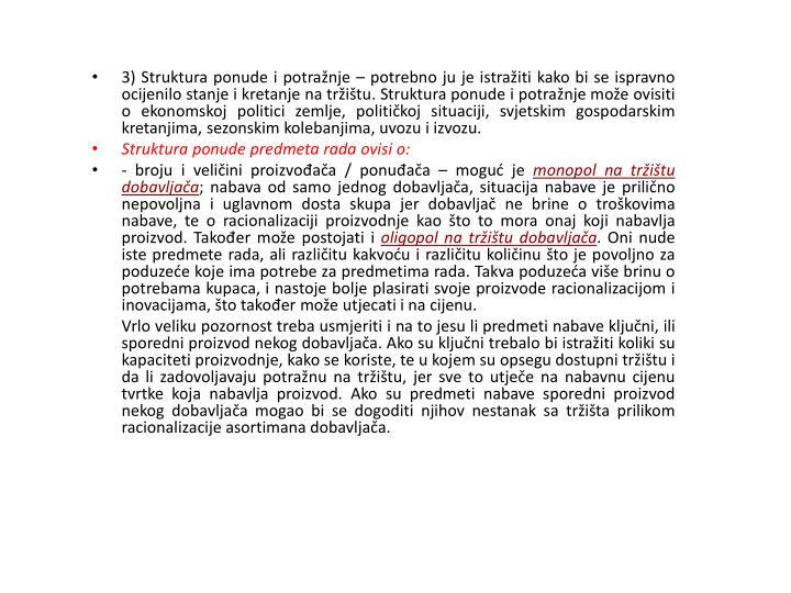 3) Struktura ponude i potražnje –