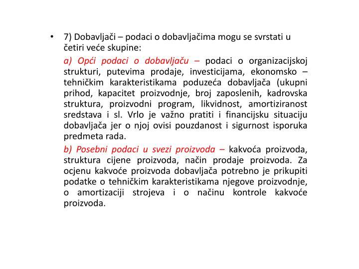 7) Dobavljači –