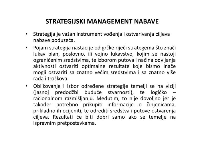 STRATEGIJSKI MANAGEMENT NABAVE
