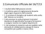 2 comunicato ufficiale del 16 7 13
