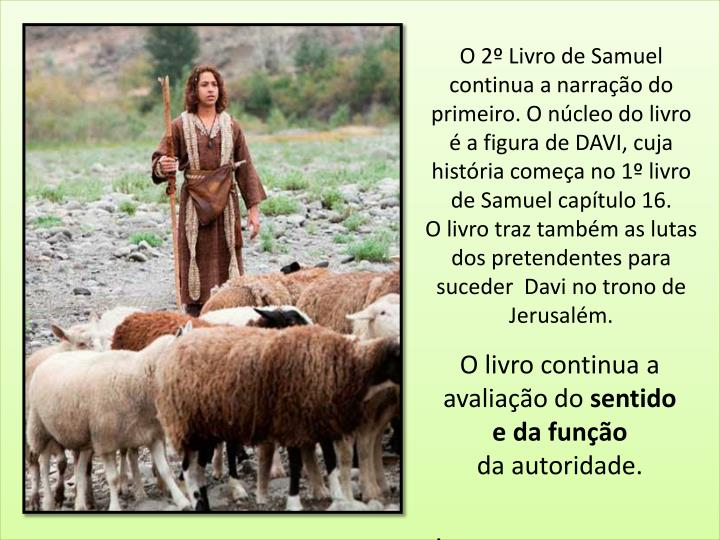 O 2º Livro de Samuel continua a narração do primeiro. O núcleo do livro é a figura de DAVI, cuja história começa no 1º livro de Samuel capítulo 16.
