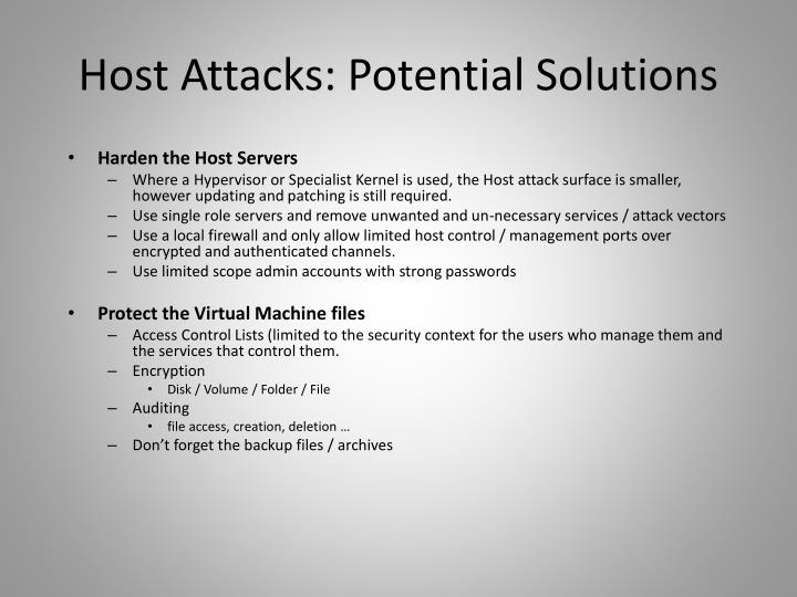 Host Attacks: Potential Solutions