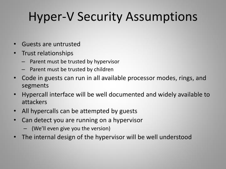 Hyper-V Security Assumptions