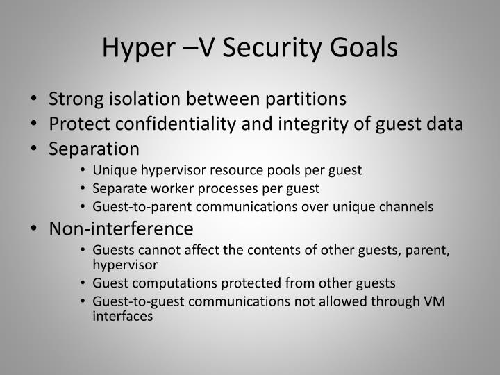 Hyper –V Security Goals