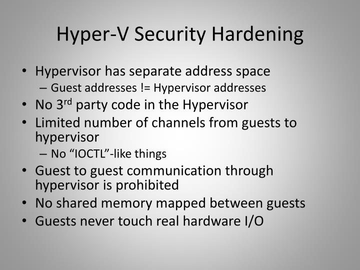 Hyper-V Security Hardening