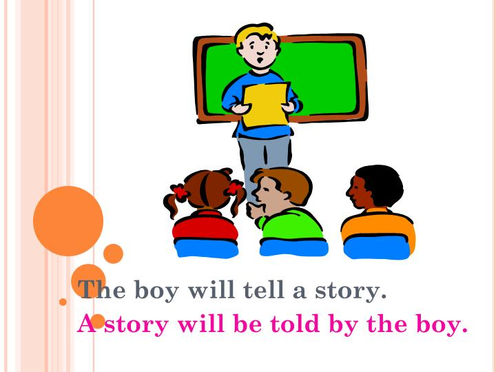 The boy will tell a story.