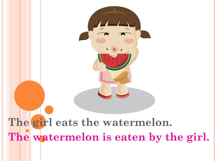 The girl eats the watermelon.