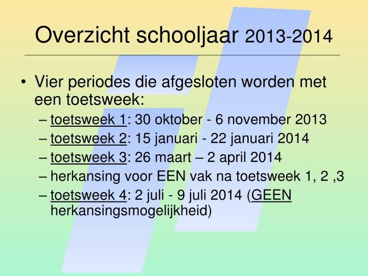 Overzicht schooljaar