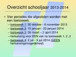 overzicht schooljaar 2013 2014