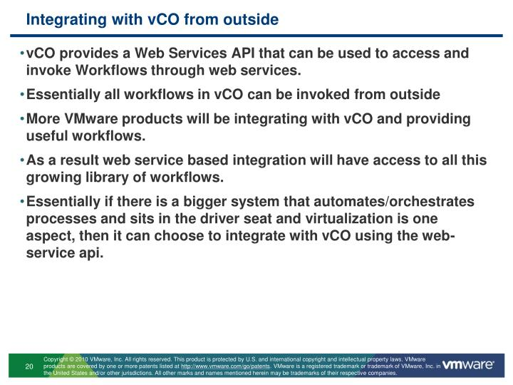 Integrating with vCO from outside
