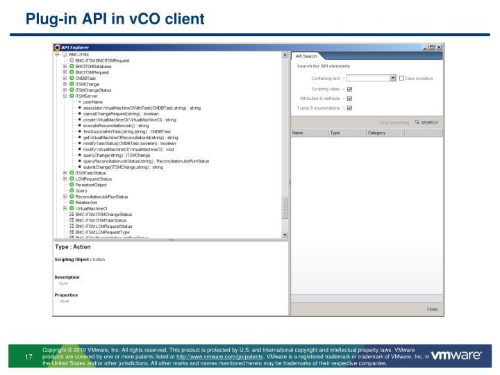 Plug-in API in vCO client