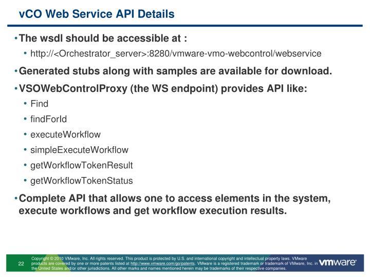 vCO Web Service API Details