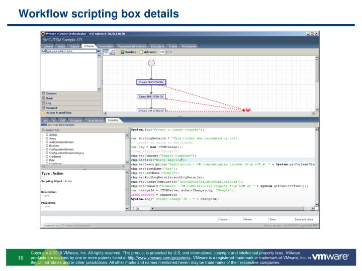 Workflow scripting box details
