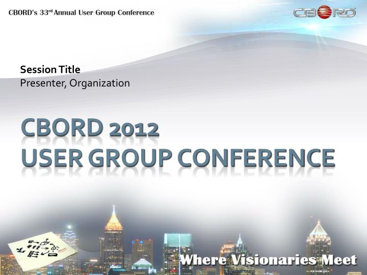 Session title presenter organization