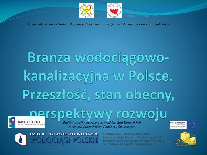 bran a wodoci gowo kanalizacyjna w polsce przesz o stan obecny perspektywy rozwoju