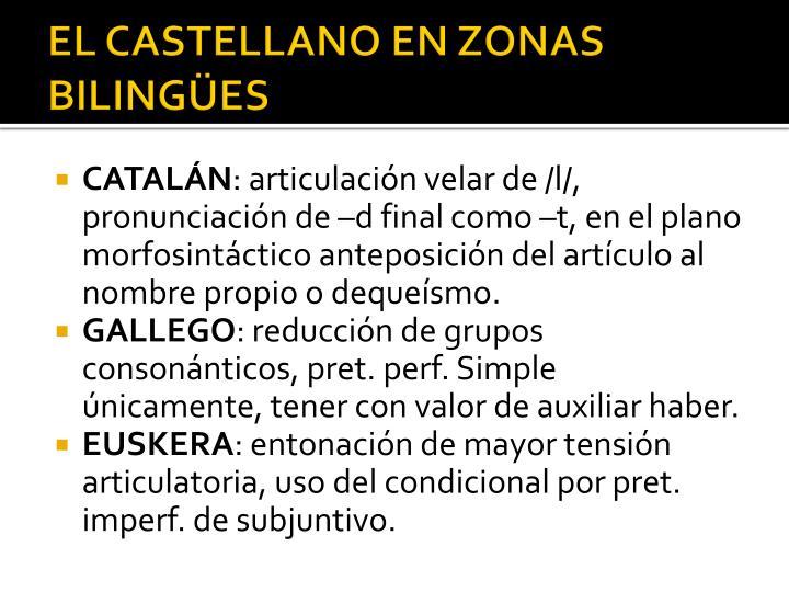 EL CASTELLANO EN ZONAS BILINGÜES