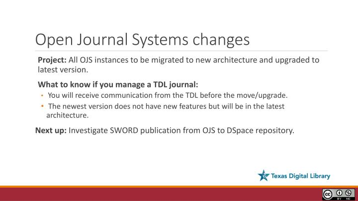 Open Journal Systems changes