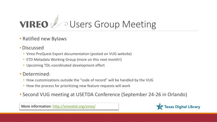 Users Group Meeting