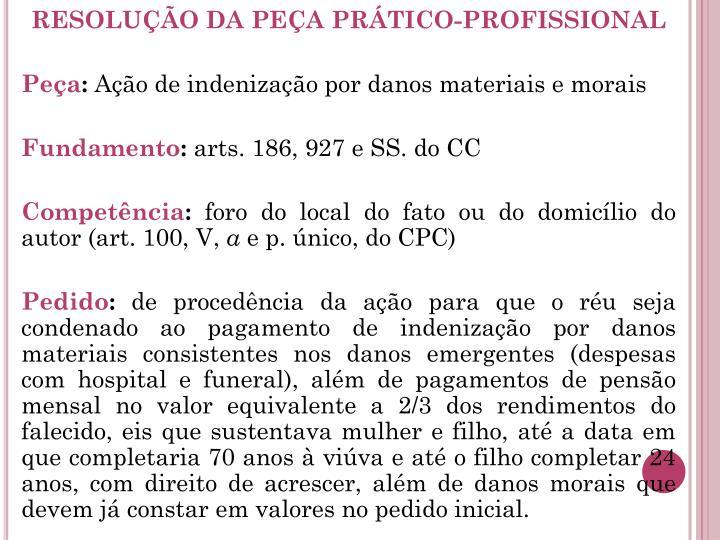 RESOLUÇÃO DA PEÇA PRÁTICO-PROFISSIONAL