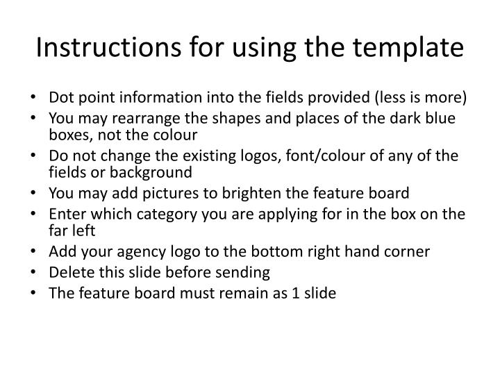 Instructions for using the template