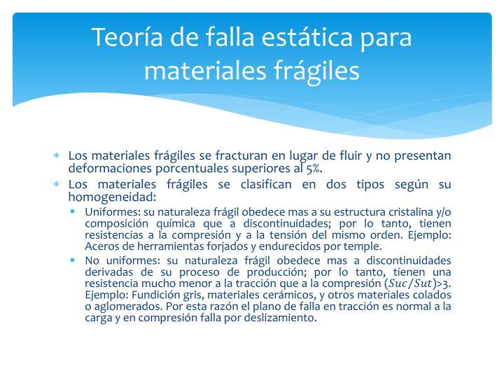 Teoría de falla estática para materiales frágiles
