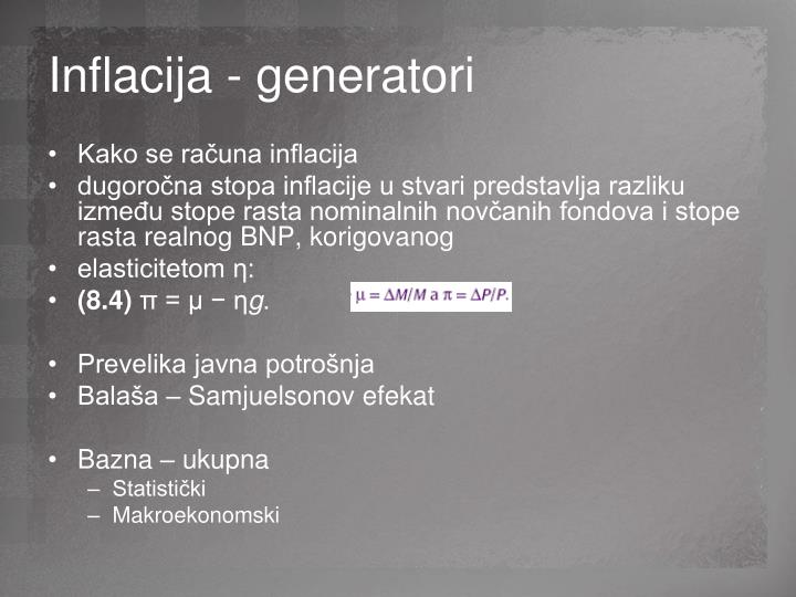 Inflacija - generatori