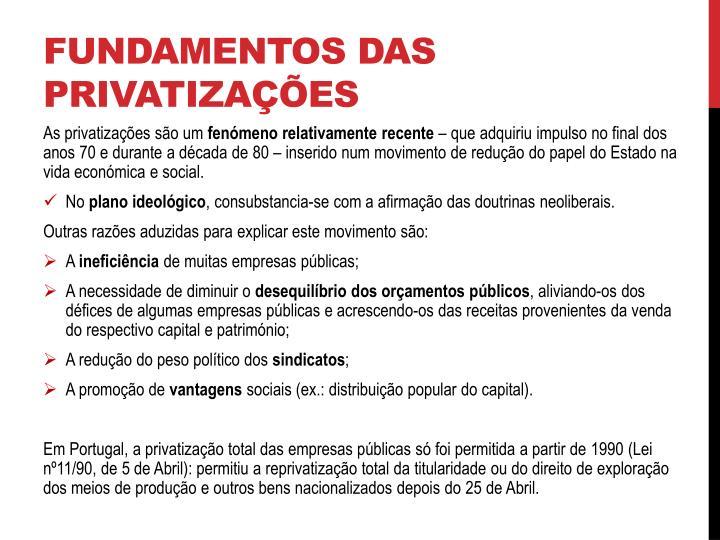 FUNDAMENTOS DAS PRIVATIZAÇÕES