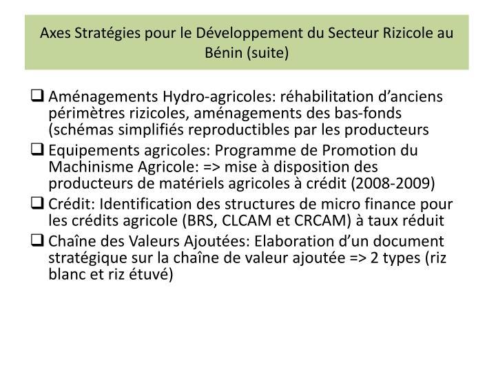 Axes Stratégies pour le Développement du Secteur Rizicole au Bénin (suite)