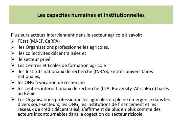 Les capacités humaines et institutionnelles