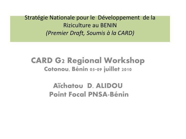 Stratégie Nationale pour le  Développement  de la Riziculture au BENIN
